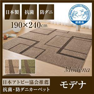 国産デザインラグマット(抗菌・防ダニ・アトピー協会推奨カーペット)モデナ 190×240cm グリーンの詳細を見る