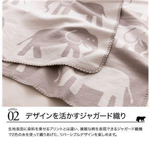 mofua natural 肌にやさしい綿ブランケット(動物柄) S(シングル) ゾウ