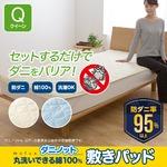 mofua ダニノット(R)使用 丸洗いできる 綿100% 敷きパッド  クイーン  アイボリー