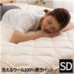日本製 洗えるウール100%敷パッド(消臭 吸湿) セミダブル(120x200cm) ベージュ