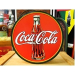 アメリカンブリキ看板 コカコーラ 1930年代ボトル&ロゴ