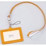 IDカードケース 牛革(イタリア革)携帯ストラップ付き イエロー