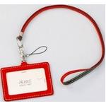 IDカードケース 牛革(イタリア革)携帯ストラップ付き レッド