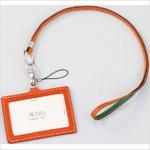 IDカードケース 牛革(イタリア革)携帯ストラップ付き オレンジ