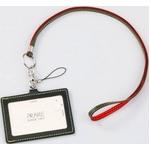 IDカードケース 牛革(イタリア革)携帯ストラップ付き ネイビー