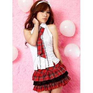 コスプレ 赤チェックスカート ネクタイ付女子制服 学生服