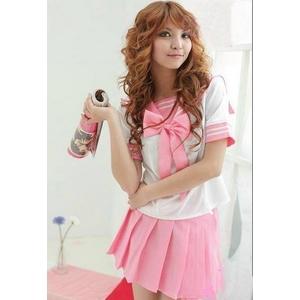 コスプレ 大きいリボンの女子制服 セーラー服 ピンク - 拡大画像