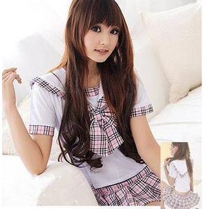コスプレ チェック柄スカート 大きいリボン付きの女子制服 - 拡大画像
