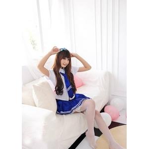 コスプレ バニエ入りブルーのセーラー服 女子制服 学生服