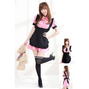 リボンとエプロン付ピンクのメイド服 コスチューム