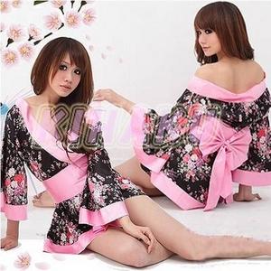 コスプレ 艶やかなピンク豪華着物 浴衣 可愛い和装ドレス - 拡大画像