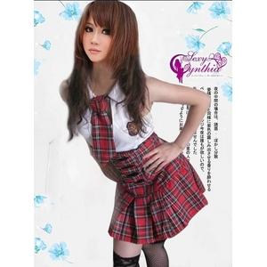 コスプレ 胸元オープンワンピース風 赤チェック柄女子制服