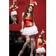 コスプレ 耳カチューシャのバニーガールワンピ 赤×白 写真1