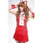コスプレ 耳カチューシャ付 赤のバニーガール 猫 ネコ