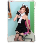 コスプレ 黒×白*カフス付バニーガール 猫 ネコ