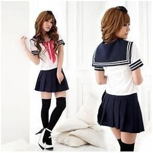 コスプレ 紺色のスカート付セーラー服 女子制服 学生服