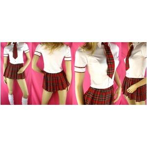 コスプレ 赤チェックスカートの女子制服 ネクタイ付学生服