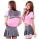 コスプレ 赤スカーフのセーラー服 ピンク×グレー女子制服 - 縮小画像2