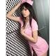 コスプレ キャップ付ピンクのナース服ワンピ 看護婦のコスチューム 写真1