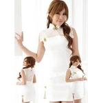 コスプレ 白いチャイナドレスTバック付 清潔感のあるドレス