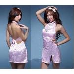 コスプレ ピンク色のチャイナドレス 背中セクシードレス