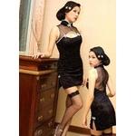 コスプレ 黒のチャイナドレス 胸あきセクシードレス