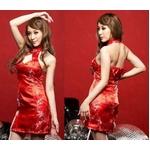 赤色のチャイナドレス 胸元セクシー艶やかワンピ