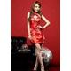 赤色のチャイナドレス 胸元セクシー艶やかワンピ 写真2