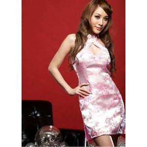 コスプレ ピンクのチャイナドレス 背中セクシーリボンキュート - 拡大画像