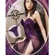 紫ランジェリー 両サイドリボンのベビードール&Tバックセット