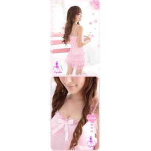 ランジェリー 裾3層レースピンクのワンピベビードール - 拡大画像