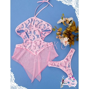 ピンクのランジェリー ベビードール&ショーツ コスチューム - 拡大画像