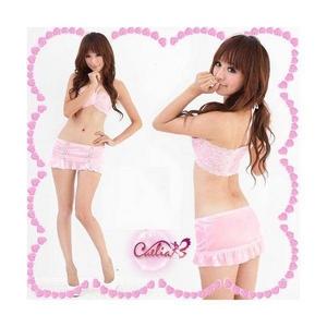 ピンクのランジェリー 3点セット セクシースカートセット - 拡大画像