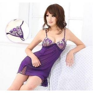 ランジェリー 胸元刺繍紫のベビードール&Tバック - 拡大画像
