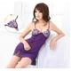 ランジェリー 胸元刺繍紫のベビードール&Tバック - 縮小画像1