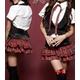コスプレ 赤チェックスカートセーラー服5点セット(ブラウス スカート ベスト ネクタイ Tバック)女子制服 コスチューム