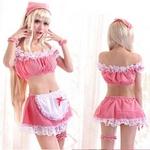 コスプレ 白いエプロンとリング付可愛いピンクのメイド服