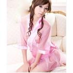 コスプレ ピンクのスケスケ浴衣 豪華着物  和物