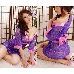 コスプレ 全レース紫色の豪華着物 浴衣 和物 - 拡大画像