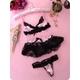 リボン&黒レース 可愛い桃色ランジェリーセット ブラ&Tバック - 縮小画像2