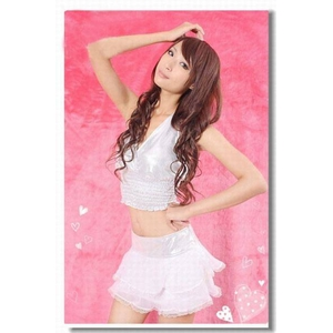 可愛いスカート 銀色のセクシーランジェリー上下セット&Tバック - 拡大画像