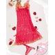 ランジェリーセット 刺繍入り赤色のベビードール&Tバック ワンピ 写真2