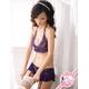 ガーター付スカートのランジェリーセット 紫のフリル&レース 写真1