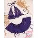 ガーター付スカートのランジェリーセット 紫のフリル&レース 写真3