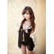 黒のランジェリーセット 胸元リボン付ベビードール&ショーツ 写真1