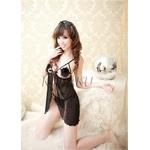 黒のランジェリーセット 胸元リボン付ベビードール&ショーツ
