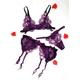 紫のランジェリー 花びらのフリル ガーターベルト&ブラ&ショーツ 写真1