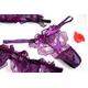 紫のランジェリー 花びらのフリル ガーターベルト&ブラ&ショーツ 写真2