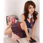 コスプレ リボン襟の背中セクシー女子制服(リボンの襟 ブラウス チェックスカート Tバック)