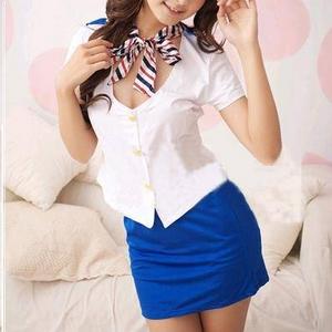 コスプレ ブルースカートの制服(リボン付ブラウス スカート)女教師 婦警 秘書 - 拡大画像